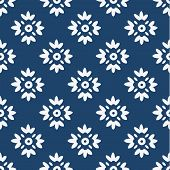 foto of indigo  - Indigo and white seamless delft pattern - JPG