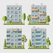 image of cell block  - Set of vector flat style facades of panel houses - JPG