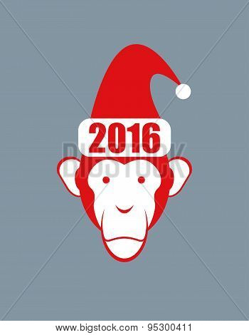 Monkey Hat Santa Claus. Symbol of 2016 new year on Chinese calendar. Vector illustration of an anima