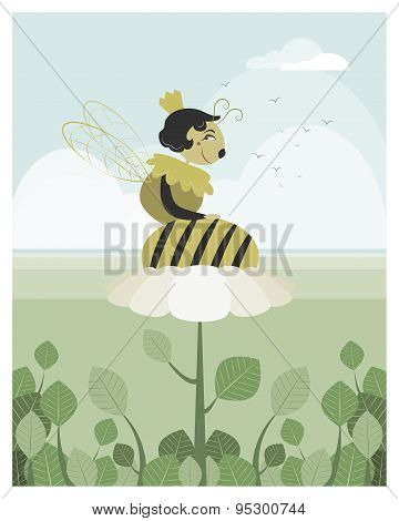 Queen Bee Resting On A Flower