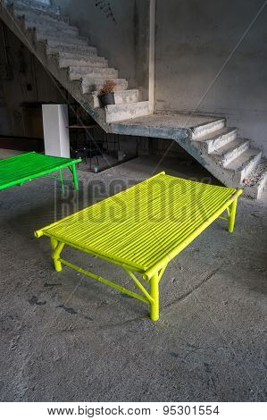 Green Bamboo Seat With Textured Floor