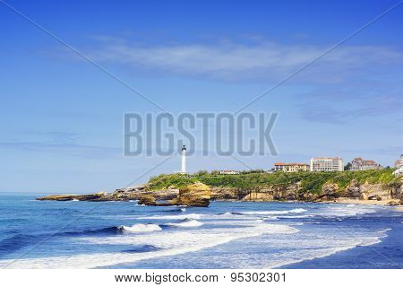 Lighthouse and waves of Biarritz, France