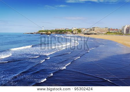 Beach and lighthouse of Biarritz, France