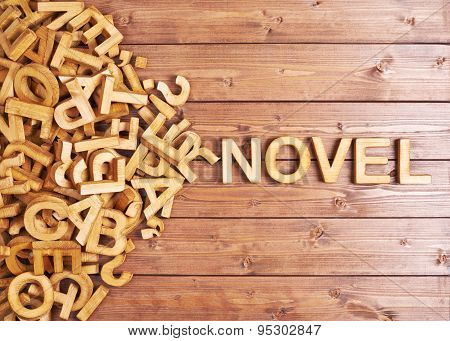 Word novel made with wooden letters