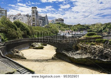 Church and beach of Biarritz, France
