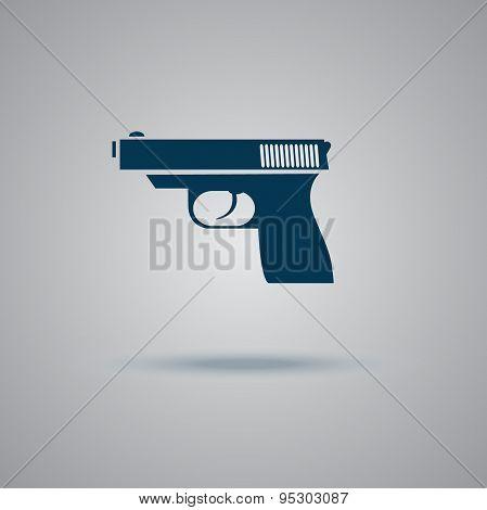 Gun, icon, flat