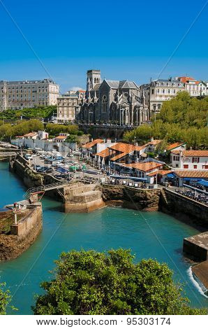 Church and arbor of Biarritz city, France