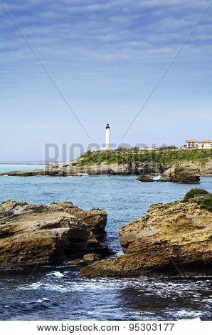 Rocks and Llghthouse of Biarritz, France