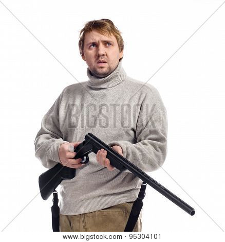 Hunter With A Gun On A White Background