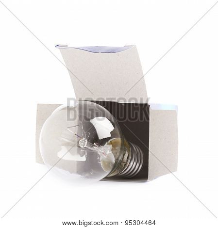 Electric bulb in a cardboard box
