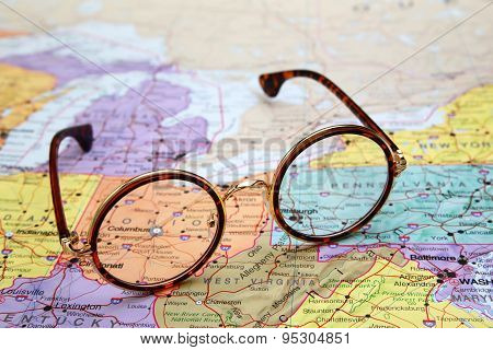 Glasses on a map of USA - Ohio