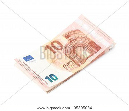 Few five euro notes isolated