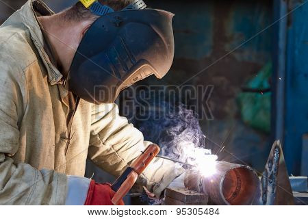 Welder Busy Parts Of The Pipeline