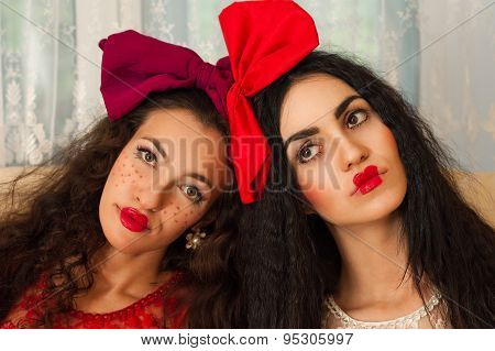 portrait woman dolls with bright makeup