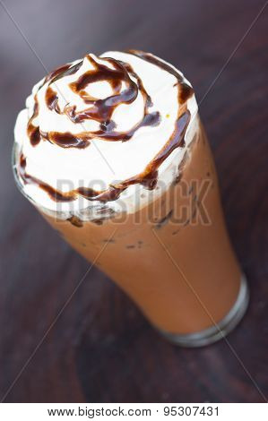 Iced Cocoa And Whipped Cream.