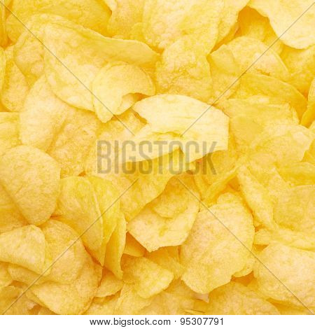 Surface covered with potato chips