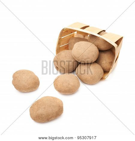 Pile of scattered potatoes isolated