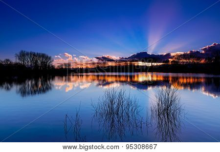 Sunset over the lake, Beaujolais, France