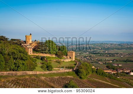 Montmelas Castle during a sunny day, Beaujolais, France