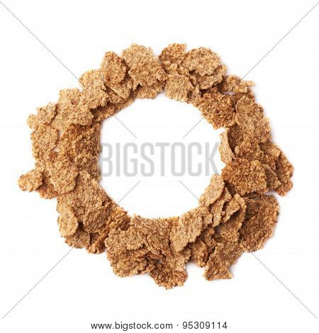 Round frame made of cereal flakes