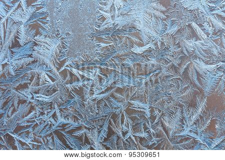 Beautiful Abstract Frosty Pattern On The Glass