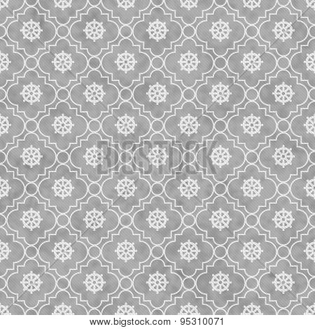 Gray And White Wheel Of Dharma Symbol Tile Pattern Repeat Background