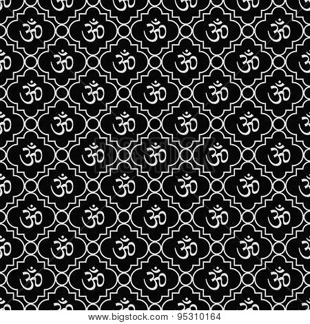 Black And White Aum Hindu Symbol Tile Pattern Repeat Background