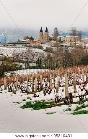 Snowed View Of Vermont village, Beaujolais, France