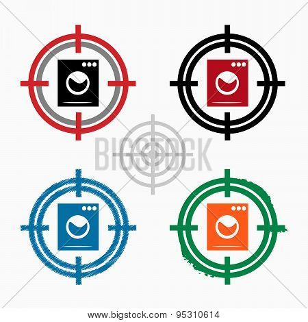 Washing Machine On Target Icons Background.