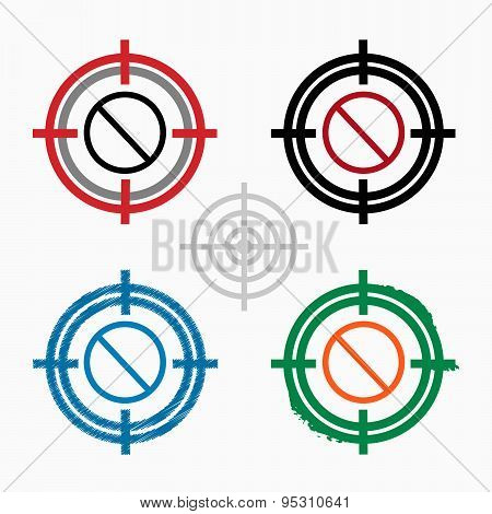 Sign Ban On Target Icons Background