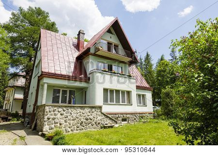House Built Of Brick In Zakopane, Poland