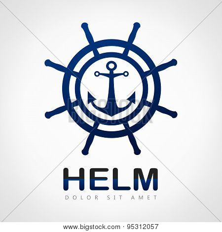 Helm. Steering Wheel and Anchor.
