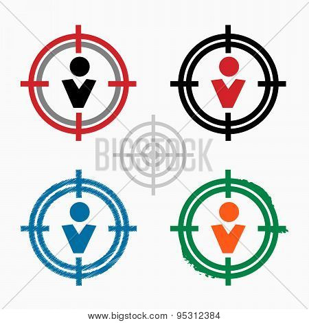 Pictograph Of Businessman On Target Icons Background
