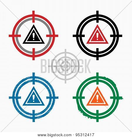 Pictograph Of Attention Caution On Target Icons Background