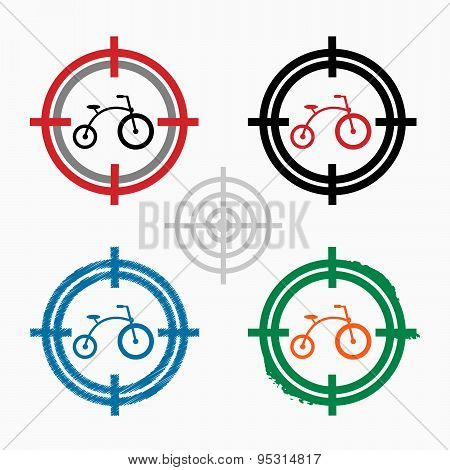 Bicycle On Target Icons Background