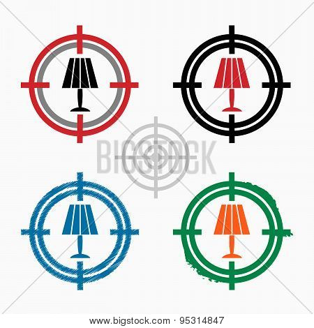 Table Lamp Icon On Target Icons Background