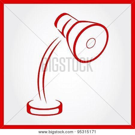 Reading lamp symbol vector