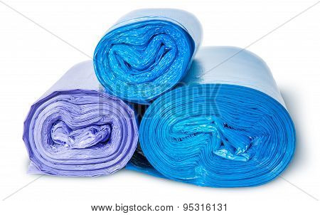 Three Rolls Of Plastic Garbage Bags Top And Front View