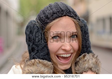 Smiling Pretty Woman In Winter Fashion