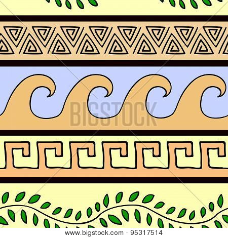 Greek Ornament Seamless Pattern With Leaves, Triangles And Waves