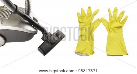 Hoover And Yellow Rubber Gloves For Cleaning