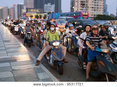 Traffic on the bridge. Kaohsiung city, Taiwan