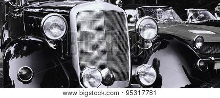 Front Headlights Of A Restored Retro Car