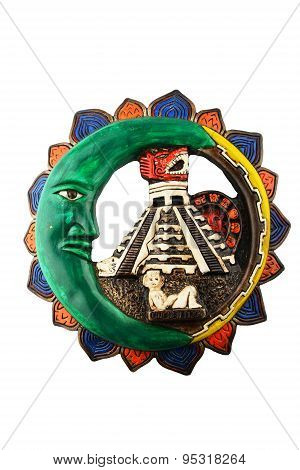 Mexican Mayan Chichen Itza Ceramic Painted Plate Isolated On White