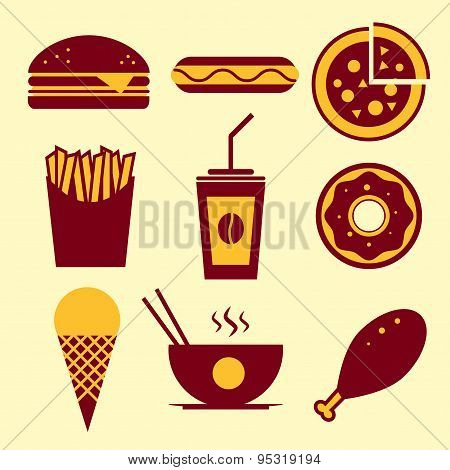 Fast food vector icon set. Burger, ice cream, coffee, chinese food
