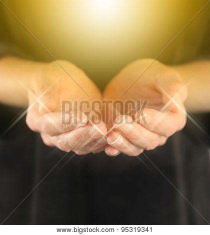 Healer with Golden Healing Orb Energy