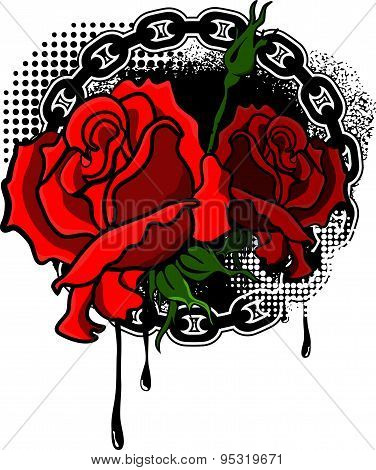 roses with grunge background