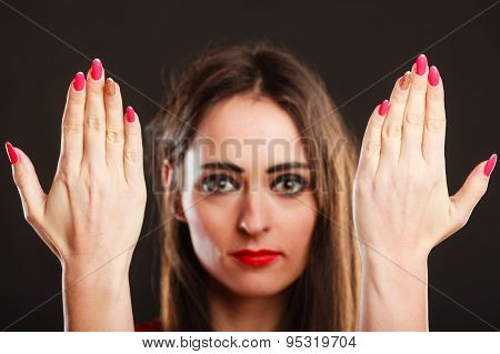 Woman Showing Fingers With Manicure.