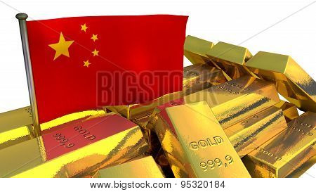 Chinese economy concept with gold bullion
