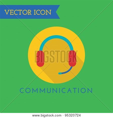 Headphone Icon Vector Icon. Sound, tools or Dj and note symbols. Stock design element.